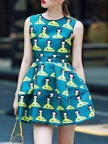 Green Round Neck Sleeveless Character Print Dress