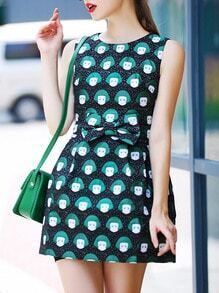 Green Black Round Neck Sleeveless Bow Print Dress