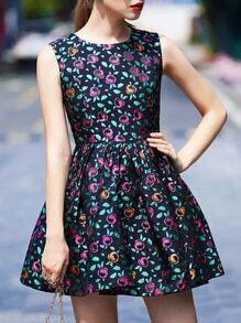 Multicolor Round Neck Sleeveless Print Dress