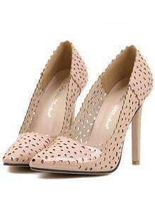 Apricot High Heel Hollow Point Toe Pumps