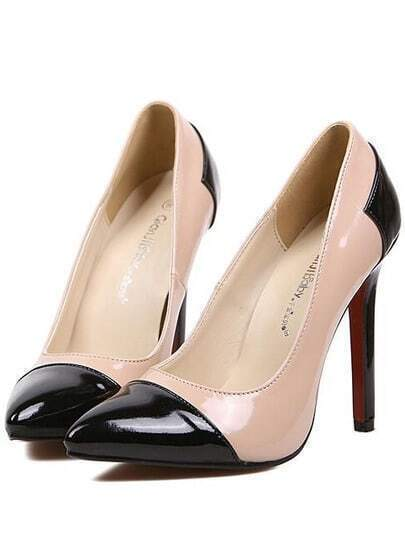 Black High Heel Point Toe PU Pumps