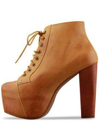 Brown Chunky High Heel Hidden Platform Boots