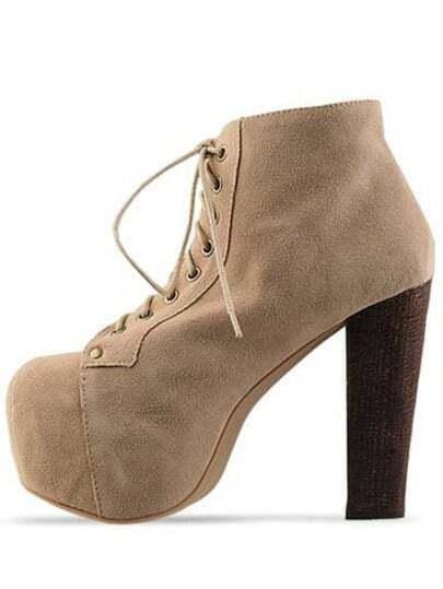 Camel Chunky High Heel Hidden Platform Boots