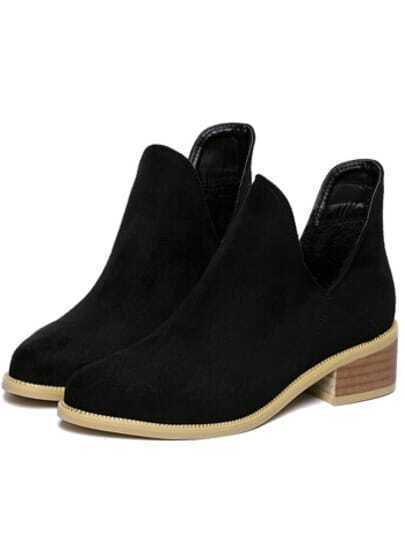 Black Chunky Heel Round Toe Casual Boots