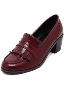 Wine Red Chunky Heel Tassel Vintage Pumps