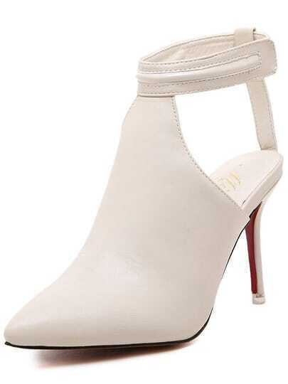 White High Heel Ankle Strap PU Pumps