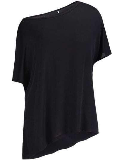 Black Oblique Shoulder Asymmetrical T-Shirt