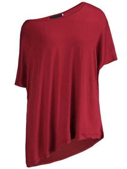 Wine Red Oblique Shoulder Asymmetrical T-Shirt