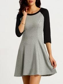 Grey Black Long Sleeve Color Block Dress