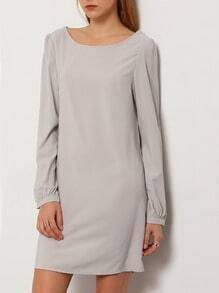 Grey Concert Long Sleeve Casual Dress