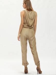 Khaki Hooded Sleeveless Jumpsuit