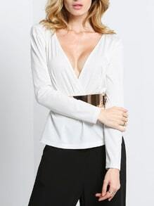 White Long Sleeve V Neck Blouse