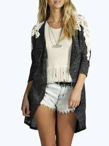 Grey Long Sleeve Contrast Lace Knit Cardigan