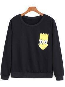 Black Round Neck Simpson Print Loose Sweatshirt