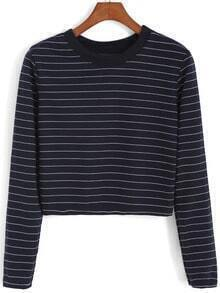 Blue Round Neck Striped Crop Sweatshirt
