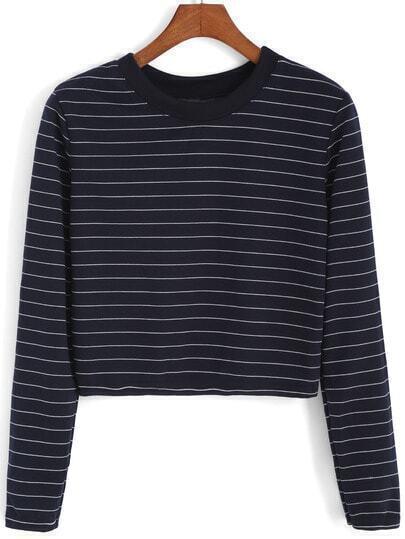 Blue Round Neck Striped Crop Sweatshirt