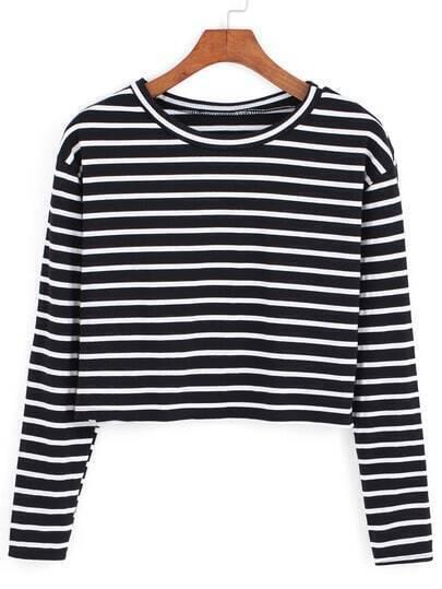 Black White Round Neck Striped Crop T-Shirt