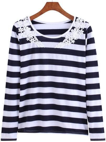Black White Round Neck Lace Striped T-Shirt