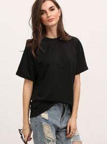 Black Round Neck Casual Loose T-Shirt