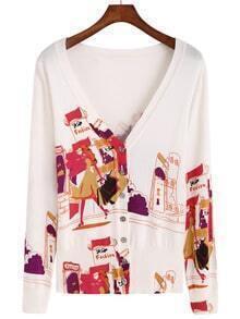 Multicolor V Neck House Print Knit Cardigan