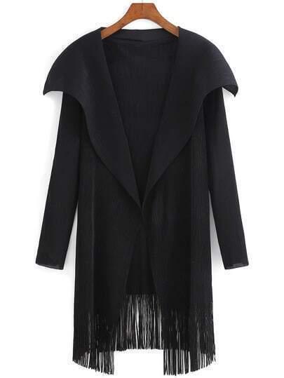 Black Lapel Long Sleeve Tassel Coat