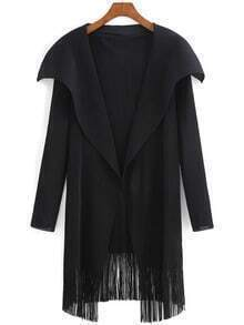 Black Lapel Long Sleeve Tassel Coat