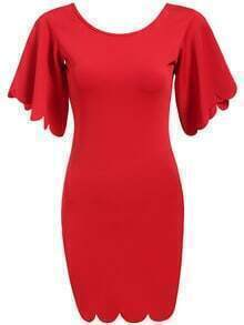 Red Round Neck Scalloped Backless Bodycon Dress