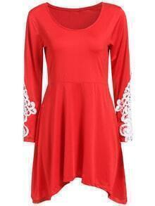 Red Round Neck Lace Loose Knit Dress