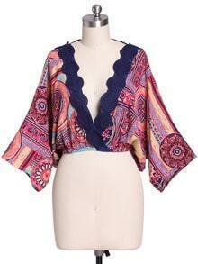 Multicolor Tribal Print Embroidered Crop Top