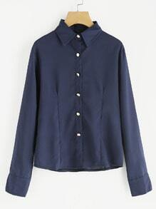 Blue Lapel Zipper Long Sleeve Buttons Blouse
