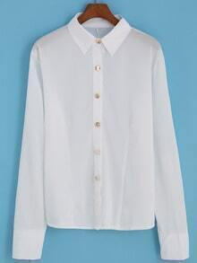 White Lapel Zipper Long Sleeve Buttons Blouse