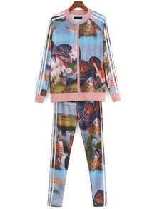 Multicolor Lotus Print Zipper Coat With Pant