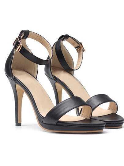 Black Ankle Strap High Heel Pumps