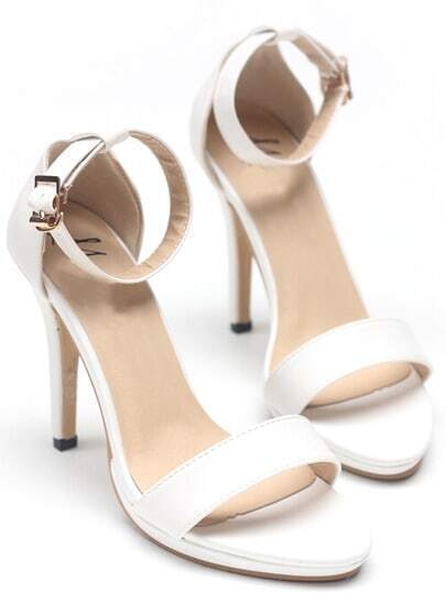 White Ankle Strap High Heel Pumps