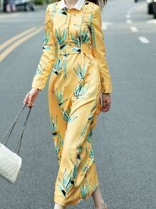 Yellow Lapel Long Sleeve Tie-Waist Pockets Print Maxi Dress