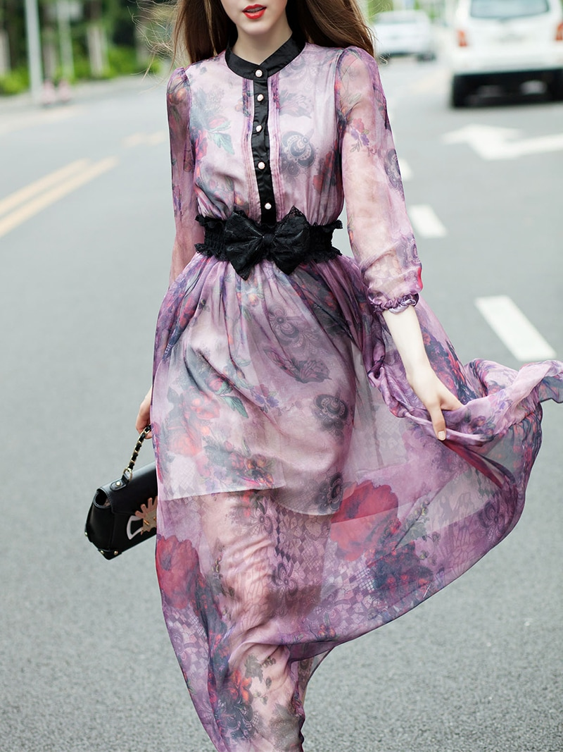 Purple Round Neck Length Sleeve Bow Print Maxi Dress