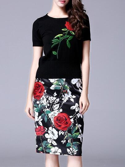 Black Knit Rose Embroidered Bodycon Two Pieces Dress
