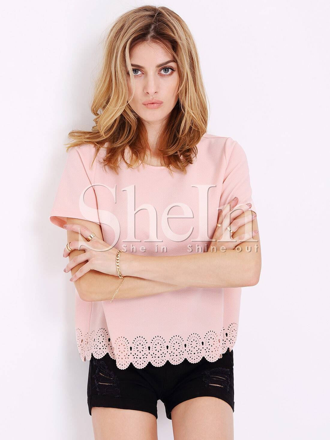 Pink Short Sleeve Hollow T-Shirts
