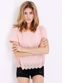Pink Short Sleeve Hollow T-Shirts