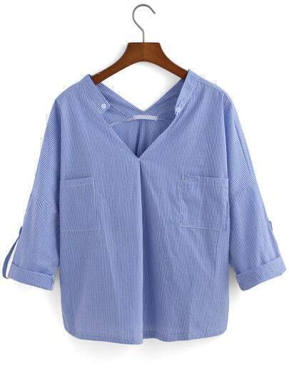 V Neck With Pockets Vertical Striped Blue Blouse