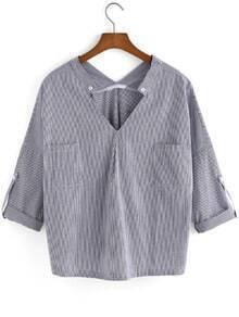 V Neck With Pockets Vertical Striped Black Blouse