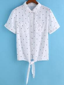 With Pockets Anchors Print Knotted Blouse