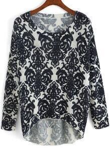 Dip Hem Vintage Print Blue Sweater