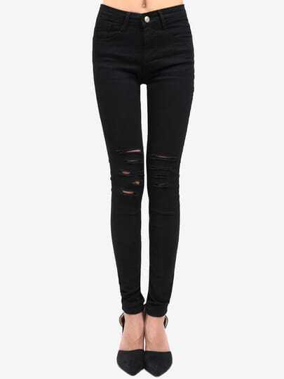 Ripped Denim Slim Black Pant Stylish Cosy Curved Jeans