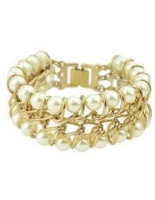 Gold Plated Chain Braided Women Large Imitation Pearl Bracelet