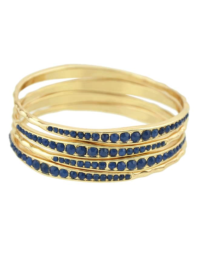 Gold Plated Blue Daily Wear Latest Beads Bracelet Bangle