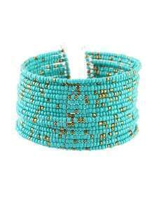 Bohemian Style Blue Adjustable Wide Beads Bracelet