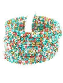 Bohemian Style Colorful Adjustable Wide Beads Bracelet