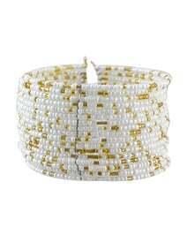 White Adjustable Wide Beads Bracelet