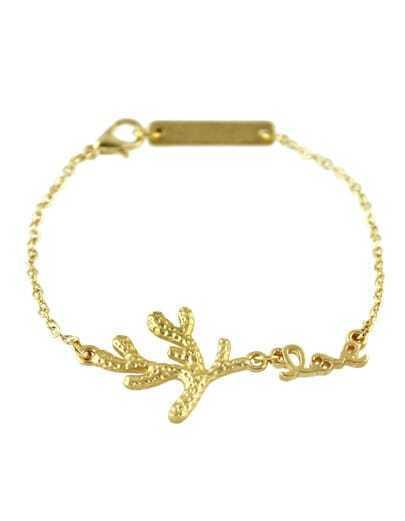 Alloy Gold Plated Leaf Shape Link Chain Bracelet For Women